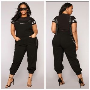 Dorinda Overall Jogger Jumpsuit with chain…